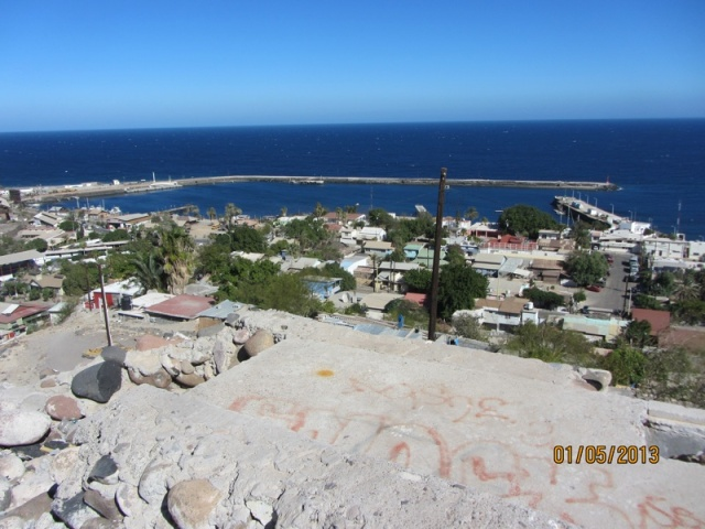 Looking down onto the harbor.  Marina Santa Roslalía is on the left hand side.