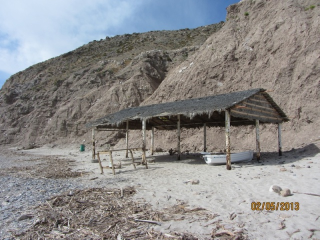 BabaLooie under a palapa at Puerto Viejo