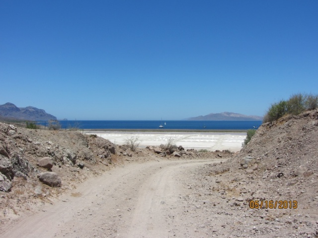 Looking from the road across the salt flats to the anchorage on the north side.